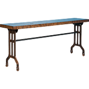 Industrial Console Table With Reclaimed Maple Top and Antique Cast Iron Legs