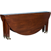 Large Antique Mahogany Drop Leaf Table, Also Serves As Console Table