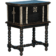Antique Swedish Trunk / Side Table Painted Black