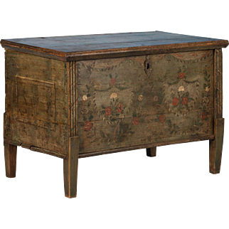 Hungarian Flat Top Trunk with Original Painted Floral Details, Circa 1840-1860