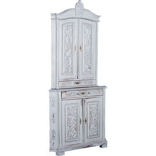Antique Hand-Carved Swedish Gray Painted Corner Cupboard