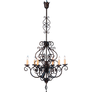 Antique 12 Light Scrolled Black Iron Chandelier