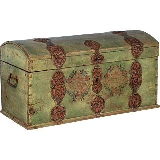 Antique Swedish Dome Top Trunk With Original Green Paint