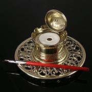Antique Decorative Brass Inkwell