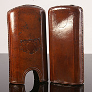 Antique Leather Cigar Case with Striker