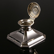 Antique Silver Capstan Inkwell