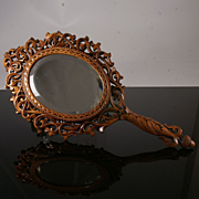Antique Black Forest Hand Mirror
