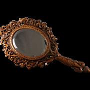 Antique Black Forest Hand Mirror