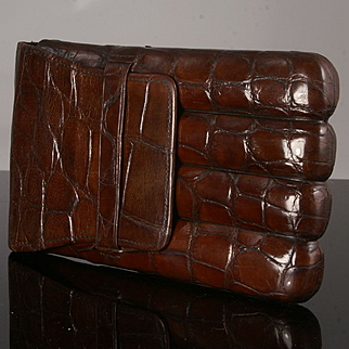 Handsome Antique Crocodile Cigar Case of the Finest Quality