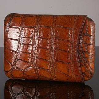 Antique Crocodile Cigar Case