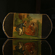 Wonderful  Early  Painted  Papier Mache Cigar Case