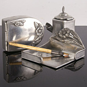 Three Piece Art Nouveau French Pewter Desk Set