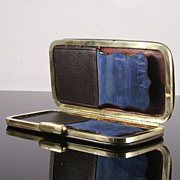 19th Century Blue Leather Cigar Case