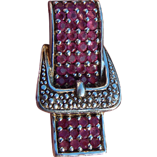 Sterling silver Ruby buckle pendant