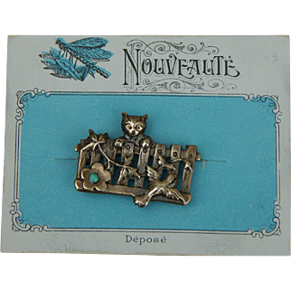 Antique French pin on card
