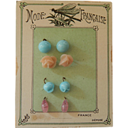 Antique French earrings on card!