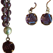 Old purple glass doll jewelry
