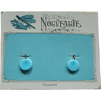 Antique French bebe earrings on card!