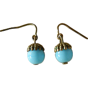 "Antique ""Jumeau blue"" doll earrings"