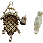 Tiny antique silver purse, thimble, & doll