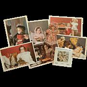 Vintage doll postcards, calendar & garland