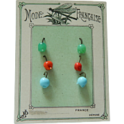 Antique French doll earrings on card!