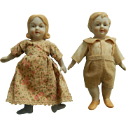 Vintage porcelain dollhouse dolls