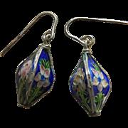 Old enamel 3 sided doll earrings