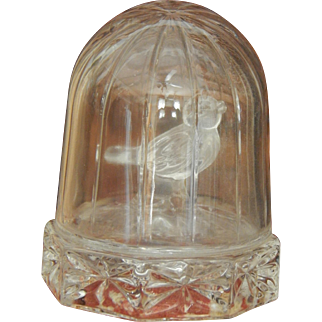 Small vintage glass bird cage