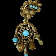 Antique Jumeau blue chatelaine charm pin