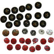 Antique glass buttons for doll clothes
