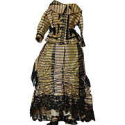 Antique silk French fashion dress