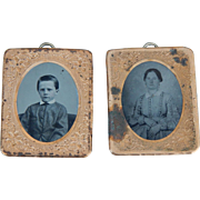 Antique dollhouse pictures w/tintypes