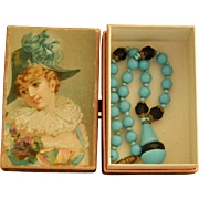 Antique Jumeau French necklace in paper box - Red Tag Sale Item