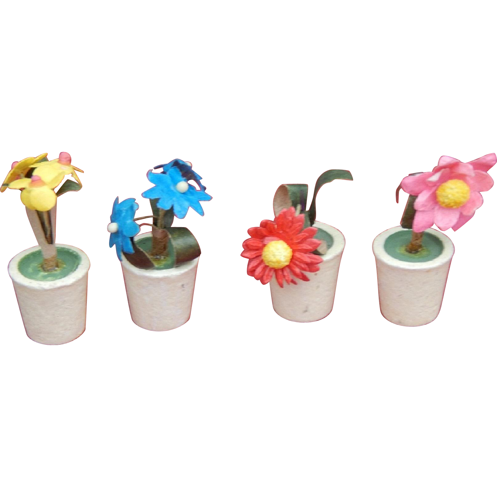 Clay Pot Dolls: Vintage Dollhouse Paper Flowers In Clay Pots : Kim's Doll