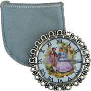 Limoges watch face mirror w/pouch for doll
