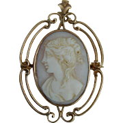 Antique 10KT gold cameo pendant/pin