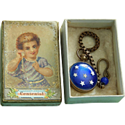 Antique doll toy watch in box w/calling card