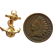 Tiny old sailor anchor pin for doll