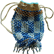 Antique glass bead leather drawstring purse