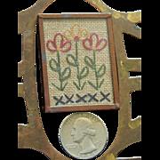 Antique framed mini needlework sampler