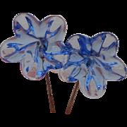 Antique blue glass doll earrings