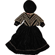 Gorgeous velvet bustled doll dress