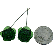 Rare green rose glass doll earrings