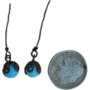 Lovely Jumeau blue doll earrings