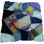 Antique crazy quilt & hoop for doll