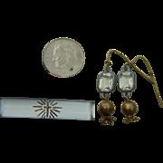 Antique glass bar pin + earrings for doll