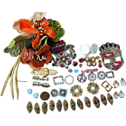 Old trims & millinery for doll clothes