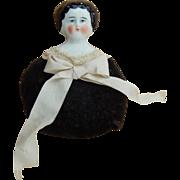 Antique china head doll pincushion