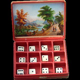 Antique French fashion dice box